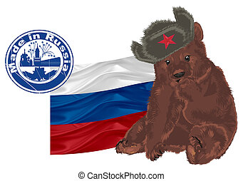 russian bear with flag and stamp