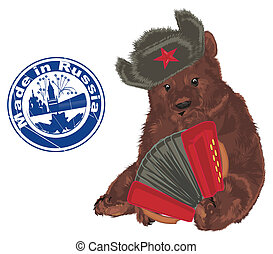 russian bear with objects