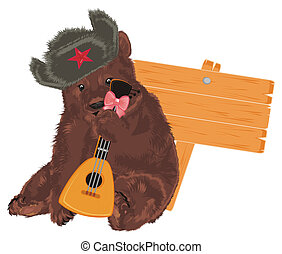 russian bear with wodoen banner