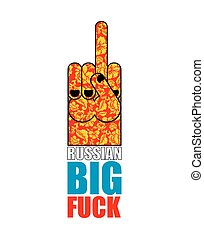 Russian big fuck provocative emblem. Hand shows bully and hooligan sign. Invasive symbol Finger in Khokhloma painting. Russia national pattern. Bad gesture. Cause aggressive behavior