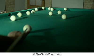 Russian billiards blow cue ball on, well! Close-up HD