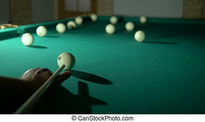 Russian billiards blow cue ball on, well! Close-up