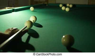 Russian billiards blow cue over the ball, unsuccessfully.