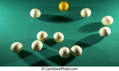Russian billiards, the first blow, breaking the pyramid. View from above