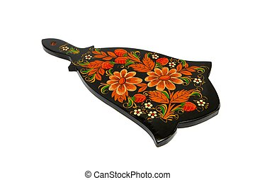 Russian black cutting board painted with flowers isolated