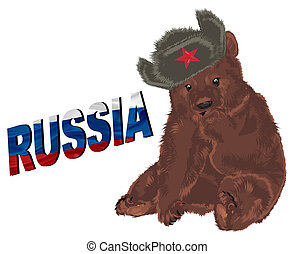 russian brown bear and colored word