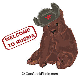 russian brown bear and red stamp