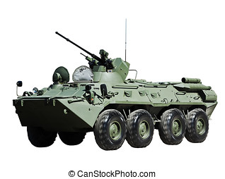 Russian BTR-80 armored personnel carrier isolated on white...