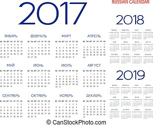 Russian Calendar 2017-2018-2019 vector