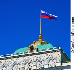 Russian characters on the roof of the Grand Kremlin Palace in Moscow