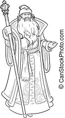 Russian Christmas Character Father Frost drawing lineart - ...