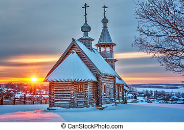 Russian church at sunset