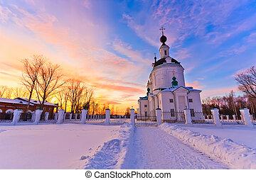 Russian church at sunset