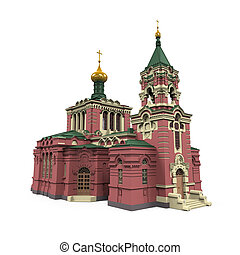 Russian Church isolated on white background. 3D render