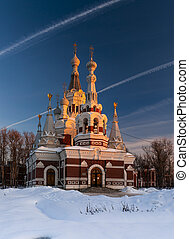 Russian church in sunset