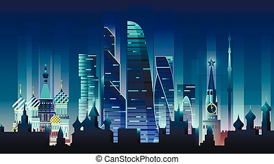 Russian city night neon style architecture buildings town country travel
