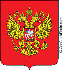 Russian coat of arms - Emblem of Russia bicapital eagle with...