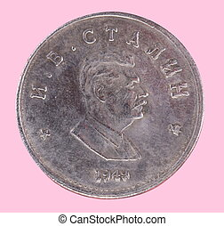 Russian coin 1 ruble 1949 CCCP isolated on pink