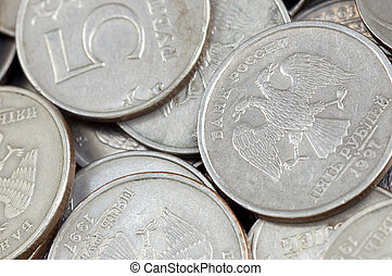 russian coins in close up