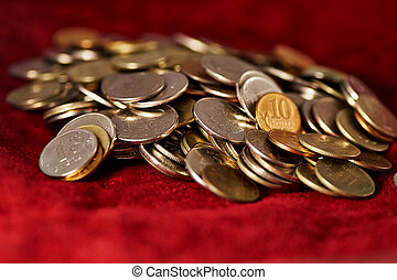 Russian coins on a background of suede