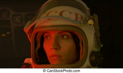 Russian Cosmonaut with Helmet Visor - A russian astronaut...