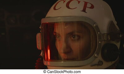 Russian Cosmonaut with Old Helmet - Close up of 1960 soviet...