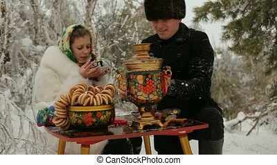 Russian Couple Picnicked - Young couple sitting in the...
