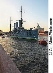 Russian cruiser Aurora - St. Petersburg, Russia - June 4:...