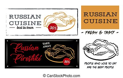 Russian cuisine pies. Food menu design elements. Traditional dishes. Russian food. Vintage hand drawn sketch vector illustration. Board menu. Engraved style