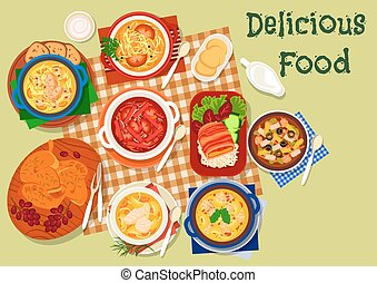 Russian cuisine soup and meat dishes icon - Russian cuisine...