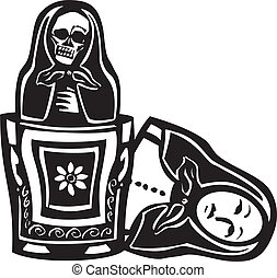 Russian Doll Death Inside - woodcut style image of a Russian...