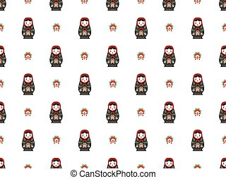 russian doll matreshka seamless pattern