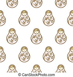 Russian doll matryoshka light seamless pattern.