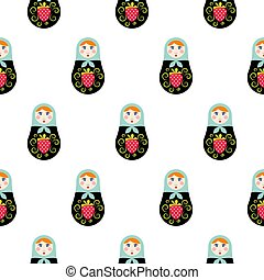 Russian doll matryoshka seamless pattern.