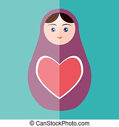 Russian doll matryoshka with heart on teal background. Vector