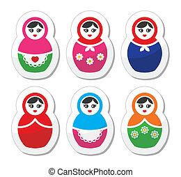 Russian doll, retro babushka icons - Russian woman toy,...