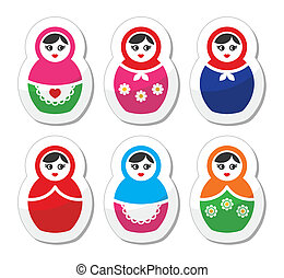 Russian woman toy, matryoshka colorful labels set isolated on white