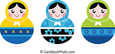Russian Doll Serries Isolated On White