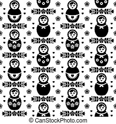 Russian doll vector seamless pattern -  Matryoshka, folk art design in black and white