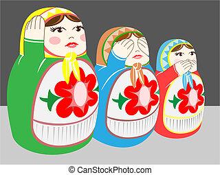 russian dolls - hear no evil,see no evil, speak no evil\'