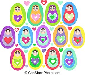 Russian dolls Matryoshka on a white background, bright colors. Birthday, baby shower, party, design. Vector