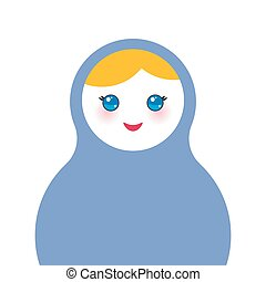Russian dolls matryoshka on white background, blue colors. Vector