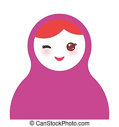 Russian dolls matryoshka on white background, violet colors. Vector