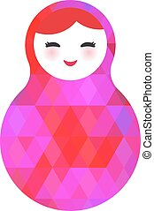 Russian dolls matryoshka screw up one's eyes with bright rhombus on white background, pink colors. Vector