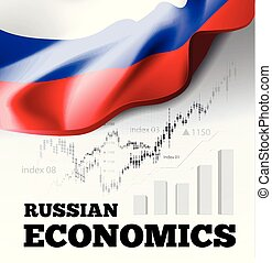Russian economics vector illustration with Russia flag and business chart, bar chart stock numbers bull market, uptrend line graph symbolizes the growth