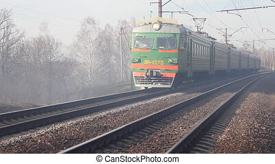 Russian electric train in smoke