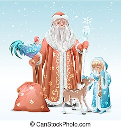 Russian Father Frost, Snow Maiden, blue rooster