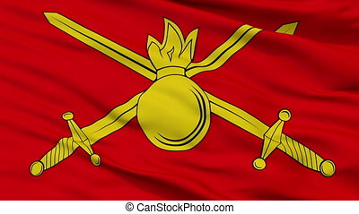 Russian Federation Ground Forces Flag Closeup Seamless Loop...