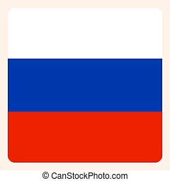 Russian Federation square flag button, social media...