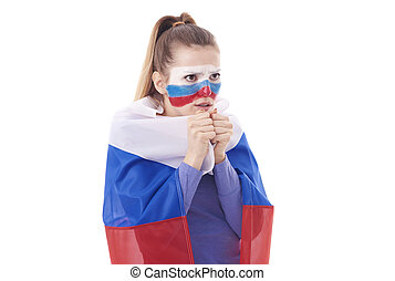 Russian female fan with national flag praying for winning